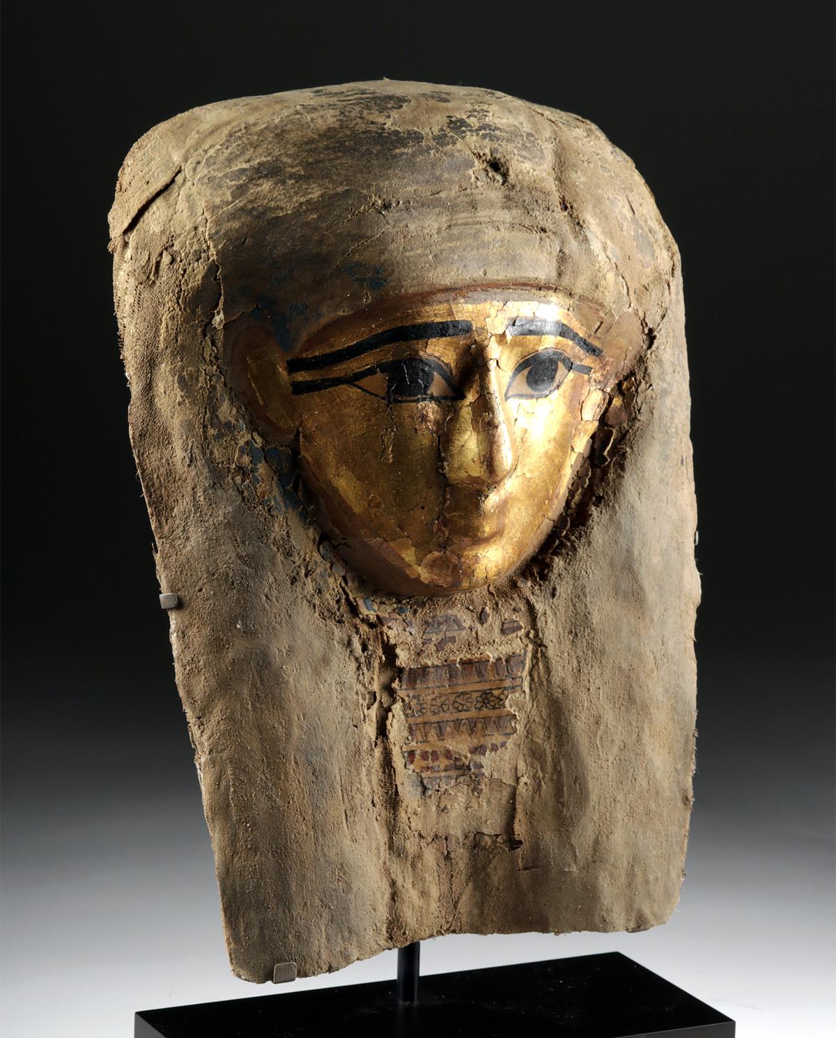 Lot 2 - Egyptian Late Dynastic Gilt Cartonnage Mummy Mask
