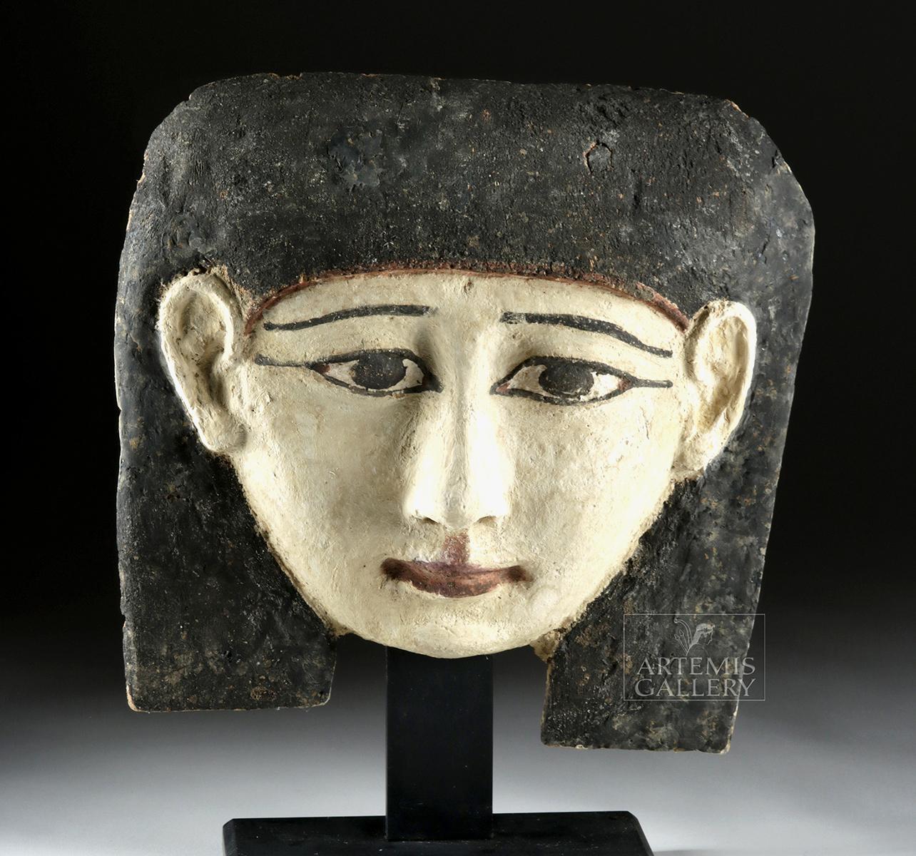 Lot 7 - Egyptian Late Dynastic Painted Cedar Sarcophagus Mask