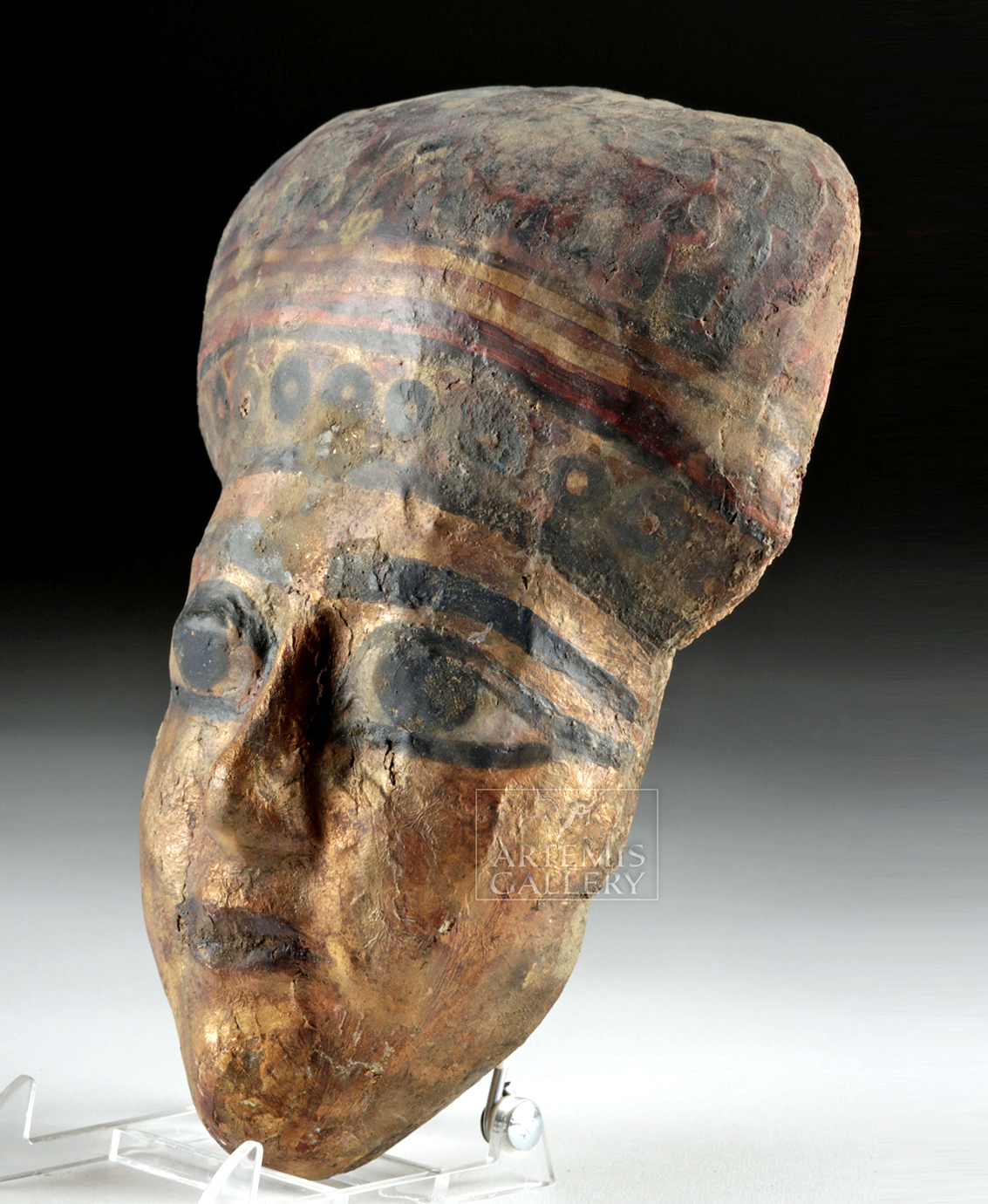 Lot 14b - Egyptian Ptolemaic Gilt Gesso / Wood Mummy Mask