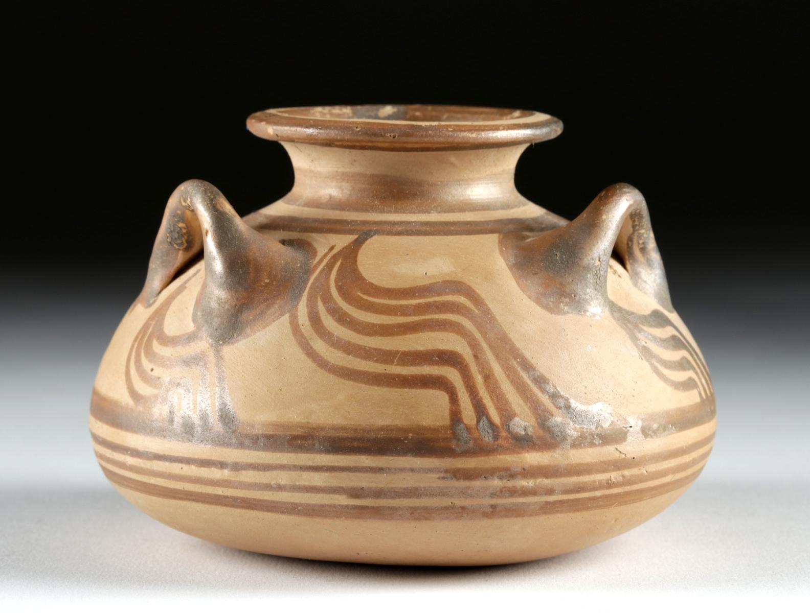 Lot 21a - Gorgeous Mycenaean Pottery Pyxis w/ Three Handles
