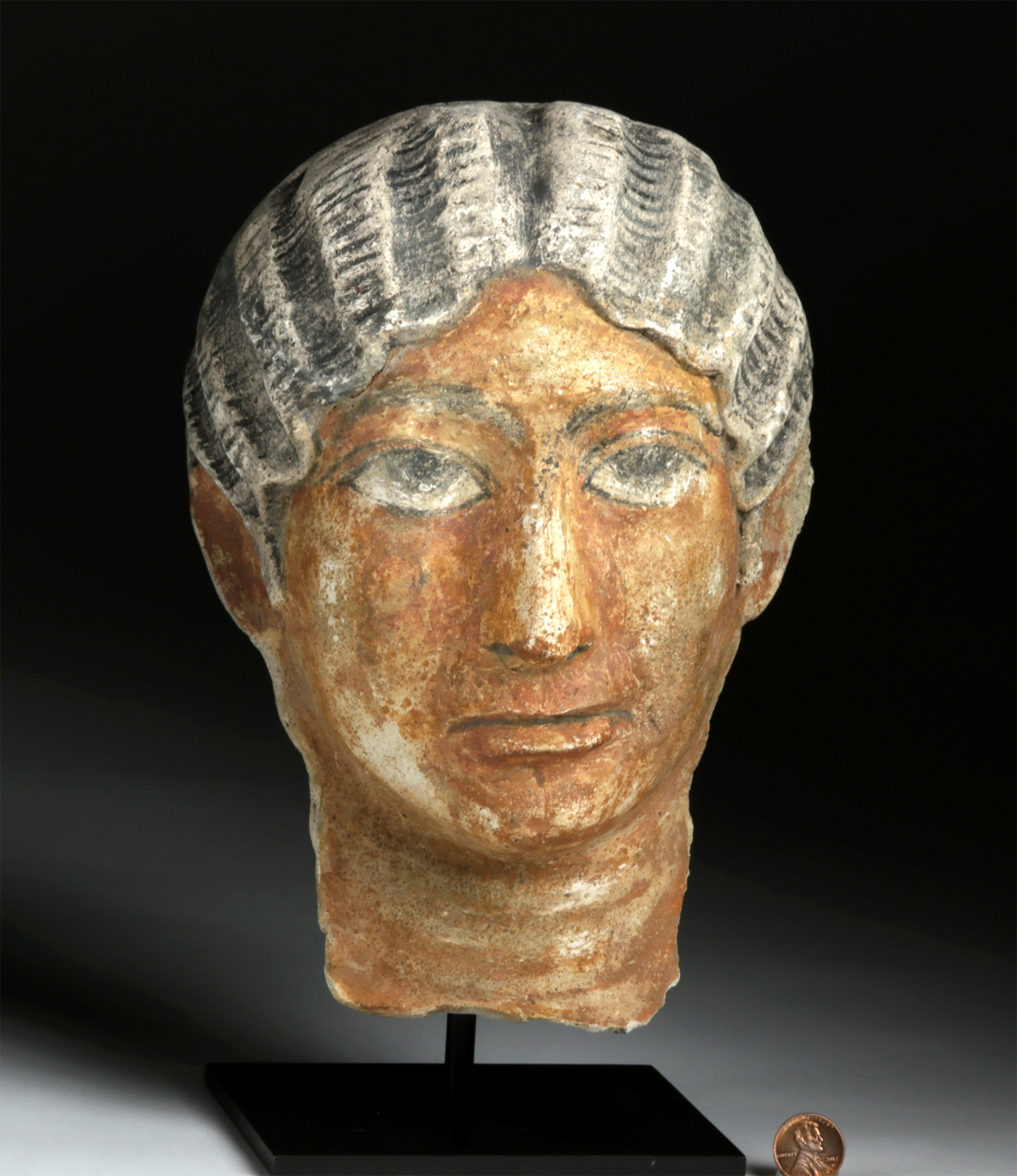 Lot 18a - Romano Egyptian Painted Stucco Portrait Head of a Woman