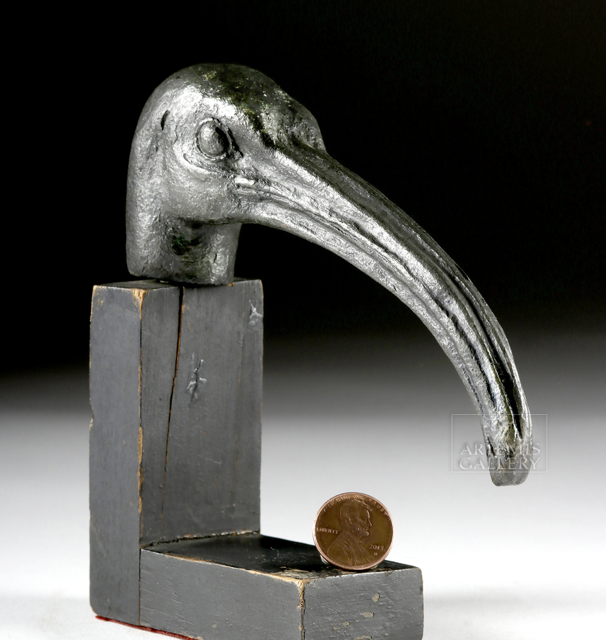 Lot 7a - Large Egyptian Bronze Ibis Head
