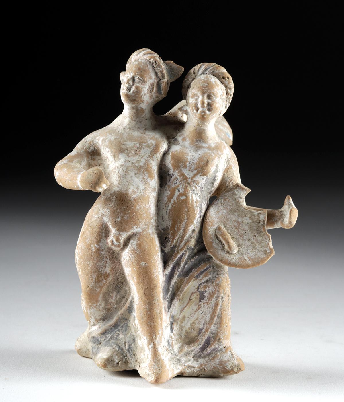 Lot 26a - Canosan Terracotta Eros & Psyche Arm in Arm