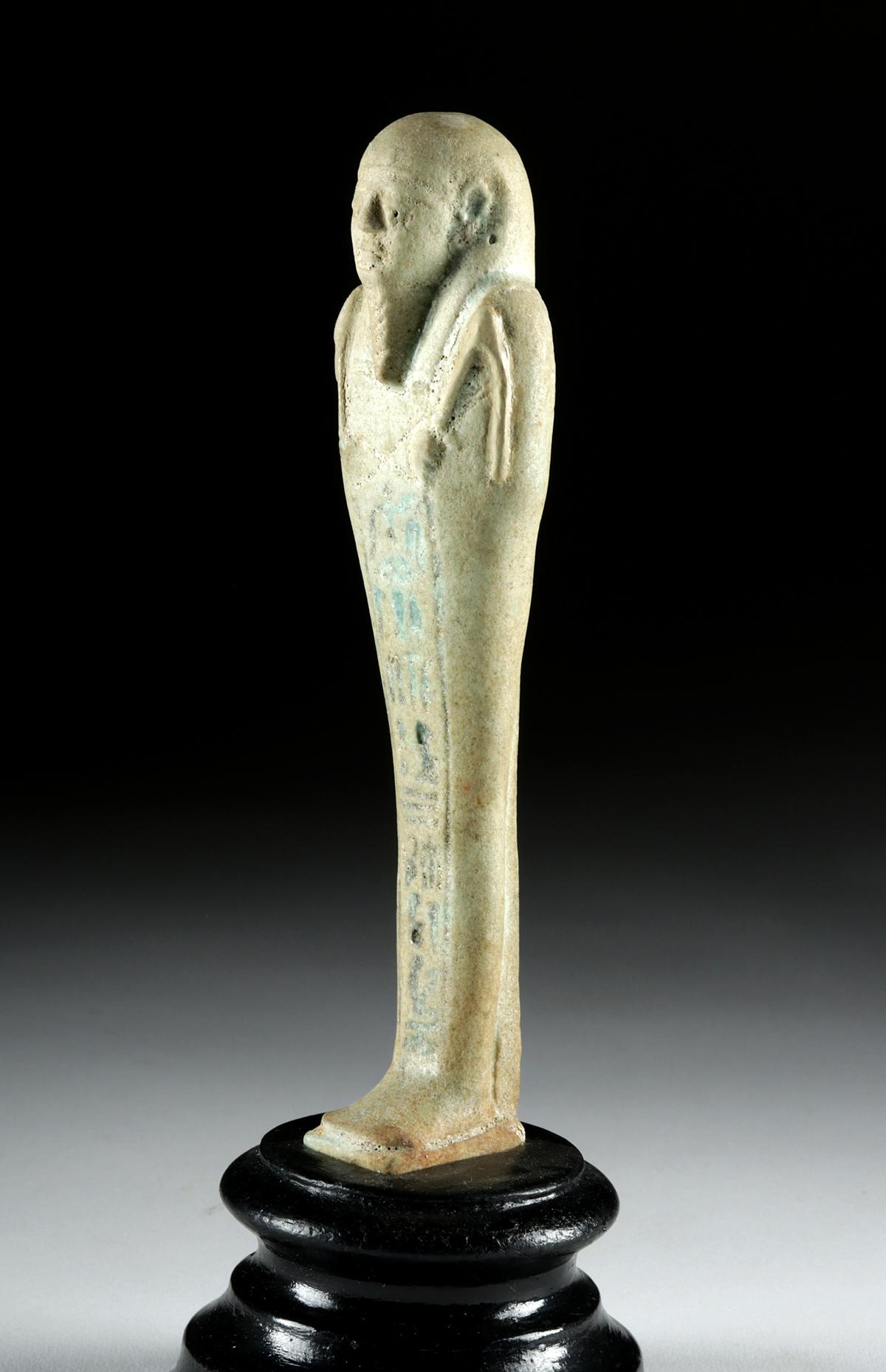Lot 11 - Tall Egyptian Late Dynastic Glazed Faience Ushabti