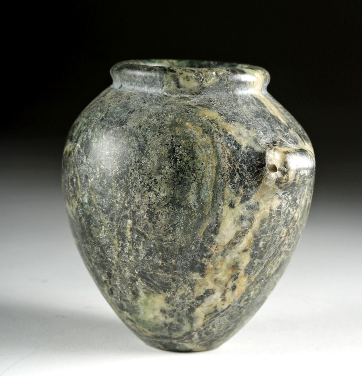 Lot 1 - Egyptian Pre-Dynastic Serpentine Acorn Shaped Jar