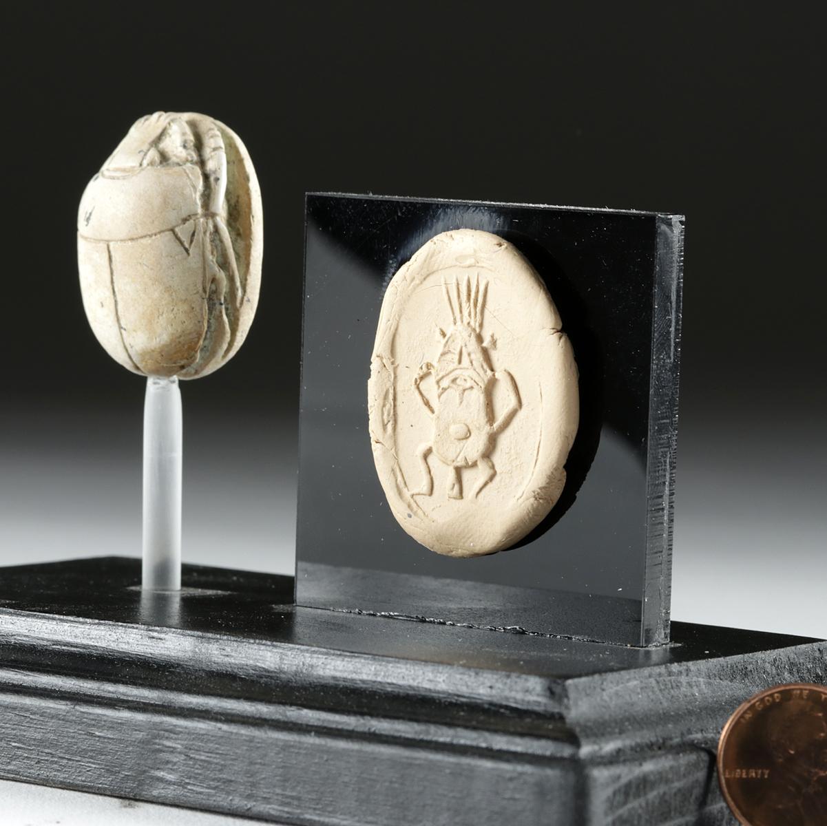 Lot 6b - Egyptian Glazed Steatite Scarab Amulet w/ Bes Engraving