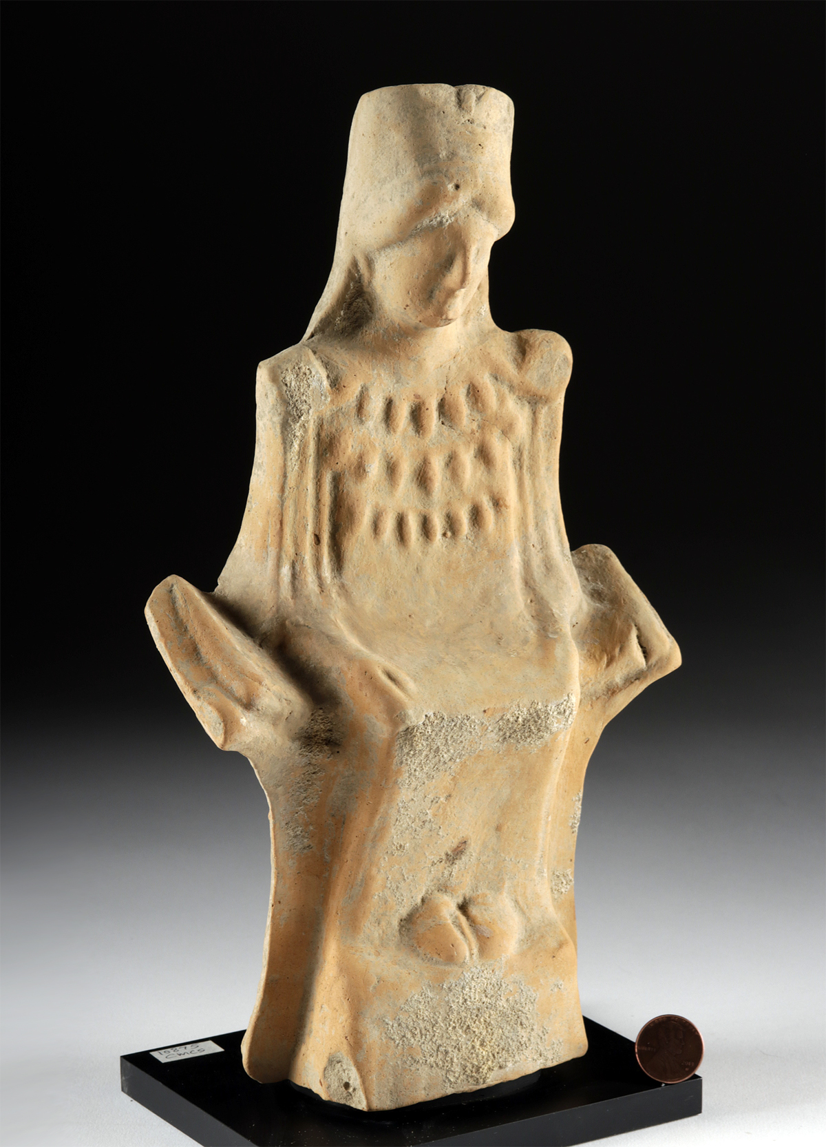 Lot 20c - Archaic Greek Rhodian Terracotta Seated Goddess