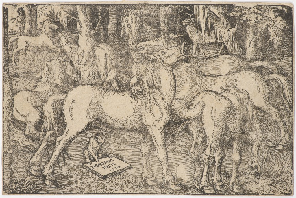 Lot 10 - HANS BALDUNG GRIEN 1484 - 1545: A GROUP OF SEVEN HORSES 1534 Woodcut 23 x 34 (plate) cm Marked on