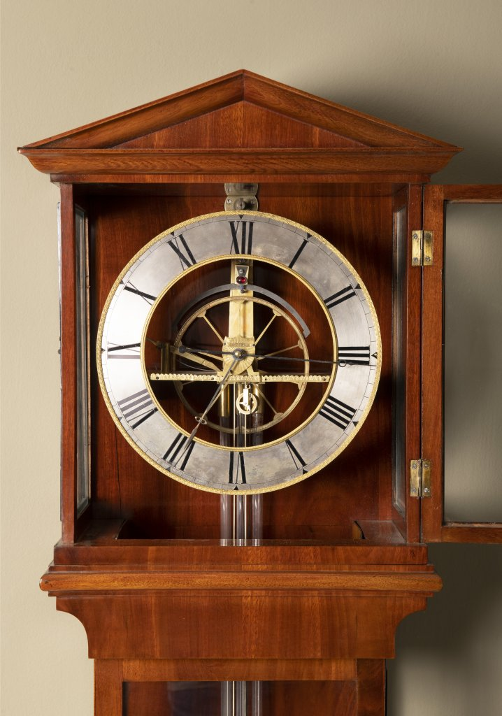 Lot 52 - A REGULATOR WALL CLOCK 1st quarter of the 19th century Bohemia Mahogany, glass 162 x 36 x 15 cm