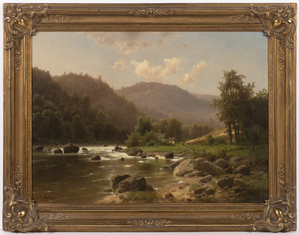Lot 58 - ADOLF CHWALA 1836 - 1900: ROMANTIC LANDSCAPE WITH A BROOK After 1870 Oil on canvas 58 x 79 cm Signed