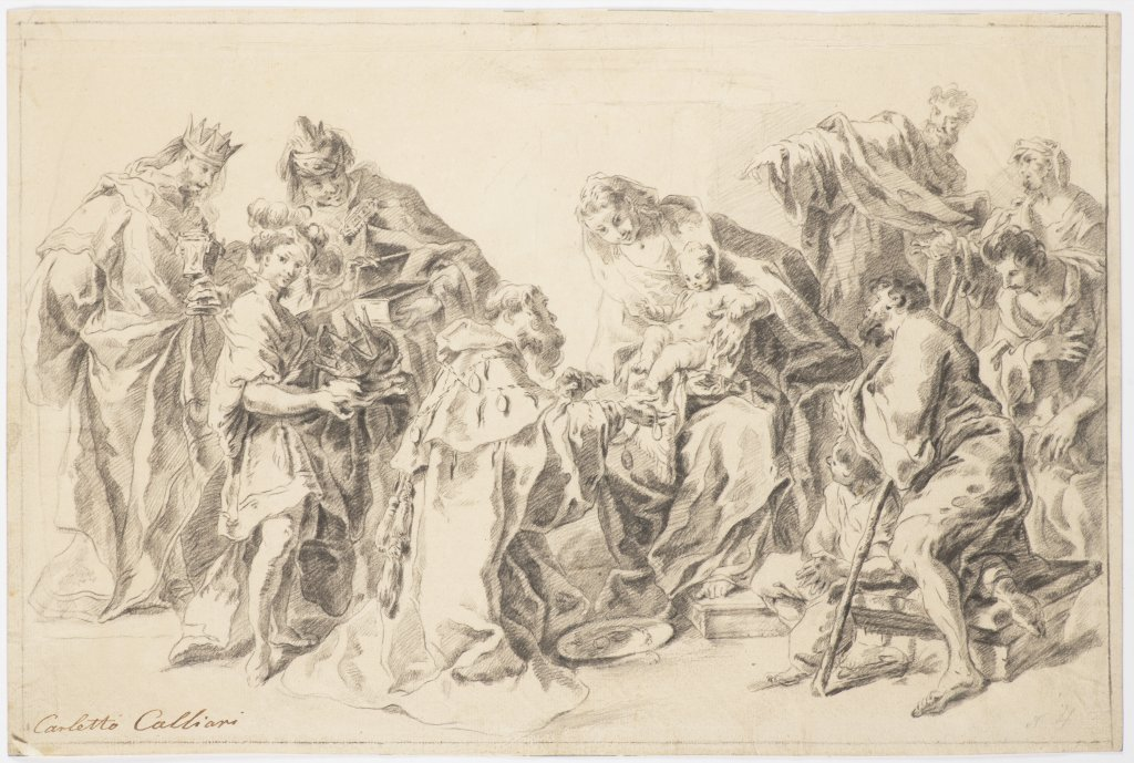 Lot 23 - CARLO CALIARI, ZVANÝ CARLETTO 1570 - 1596: ADORATION OF THE MAGI Late 16th century Black chalk on