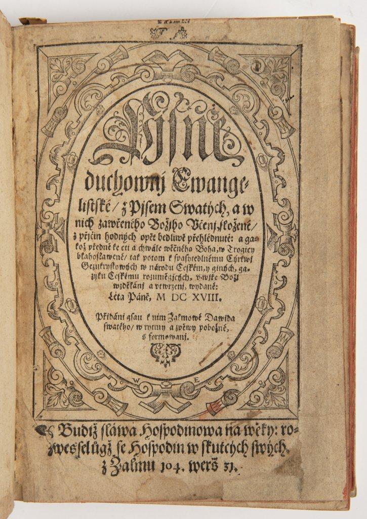 Lot 2 - PJSNÌ DUCHOWNJ EWANGELISTSKÉ Z PJSEM SWATÝCH ... 1618 Kralice, tiskárna Èeských bratøí 20,5 x 14,5 x