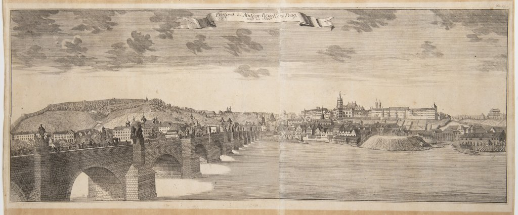Lot 18 - CARL CHRISTIAN SCHRAMM: VISTA OF CHARLES BRIDGE 1735 Copper engraving on paper 36 x 83,5 cm