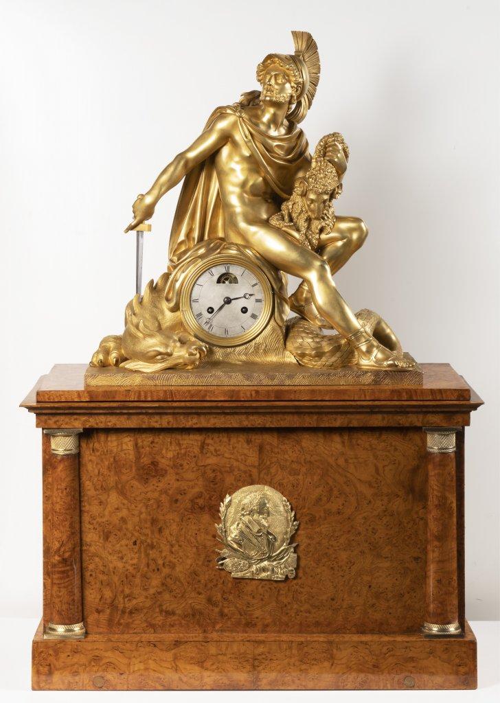 Lot 49 - AN EMPIRE TABLE CLOCK Ca. 1810 France Paøíž Gilt bronze, birdseye ash 92,5 x 62,5 x 27 cm This