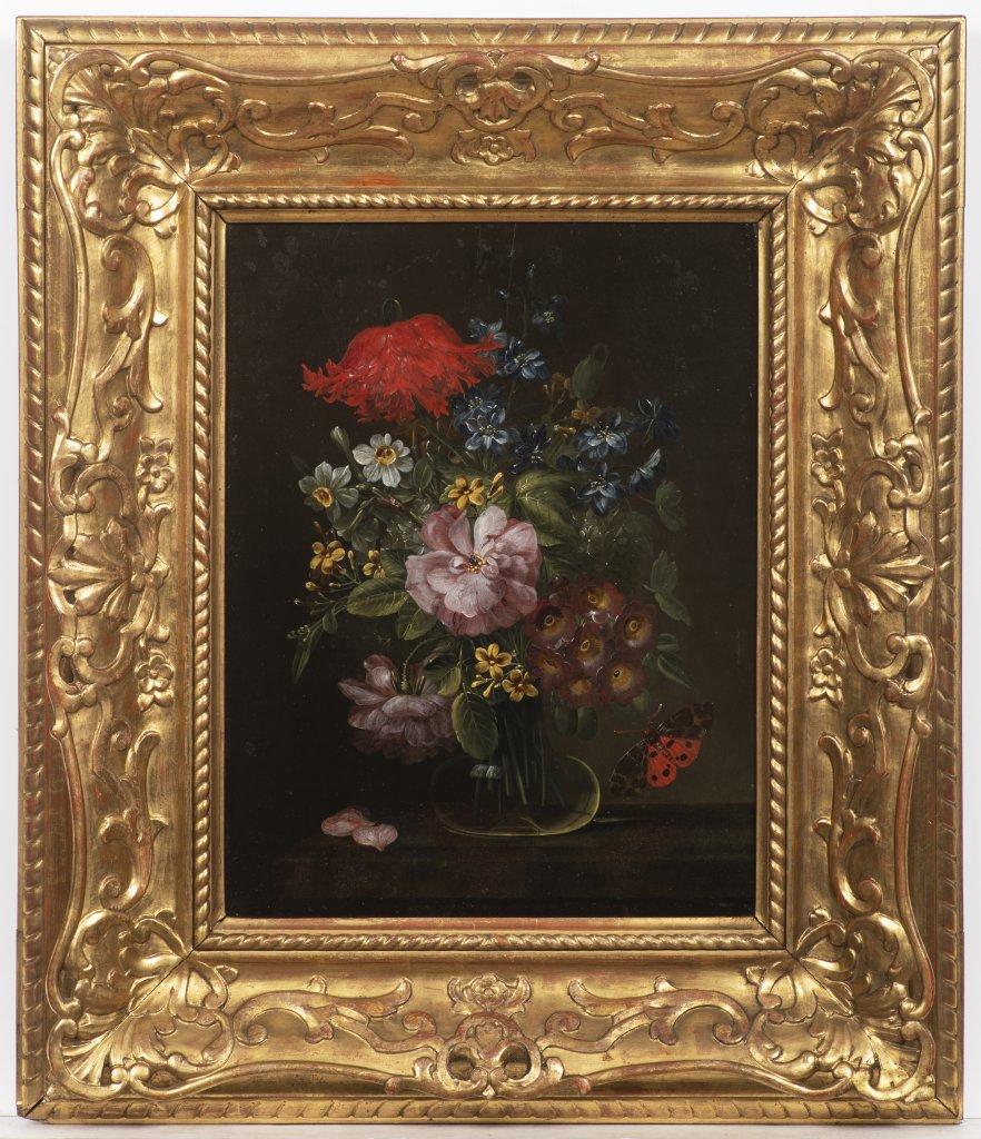 Lot 40 - JAN KAŠPAR HIRSCHELY 1695 - 1743: FLORAL STILL LIFE First half of 18th century Oil on wood panel