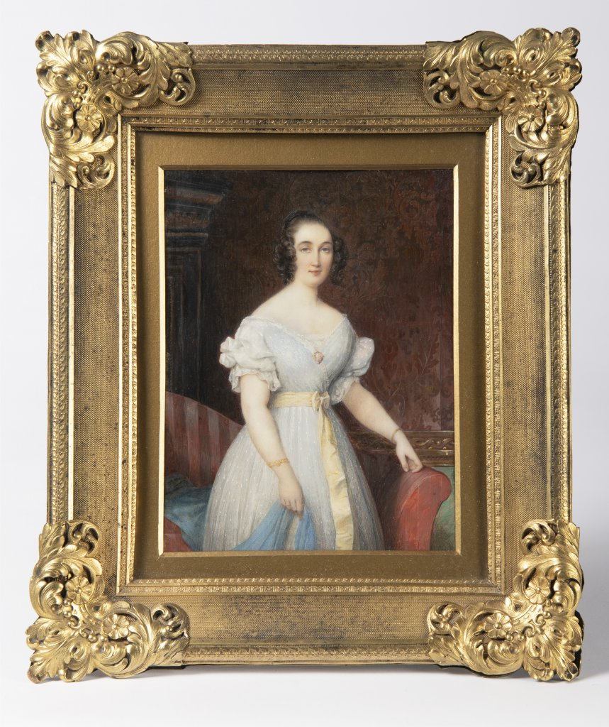 Lot 59 - ÉTIENNE BOUCHARDY 1797 - 1849: MINIATURE OF A YOUNG LADY IN A WHITE DRESS 1840 Watercolor and