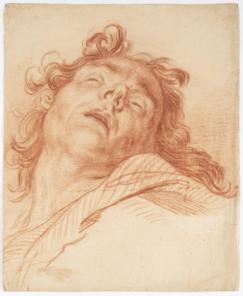 Lot 24 - NEZNÁMÝ AUTOR: STUDY OF A HEAD 18th century Sanguine on paper 47 x 38 cm Smudged signature lower