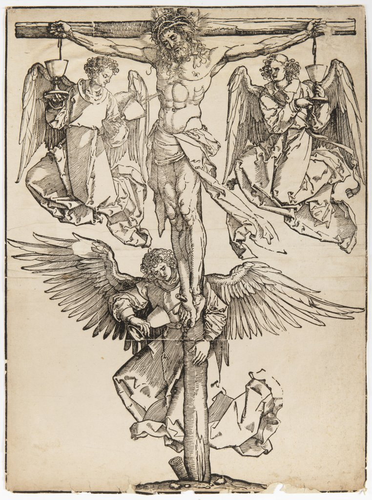 Lot 8 - ALBRECHT DÜRER 1471 - 1528: CHRIST ON THE CROSS WITH THREE ANGELS Early 16th century Woodcut 58 x 42