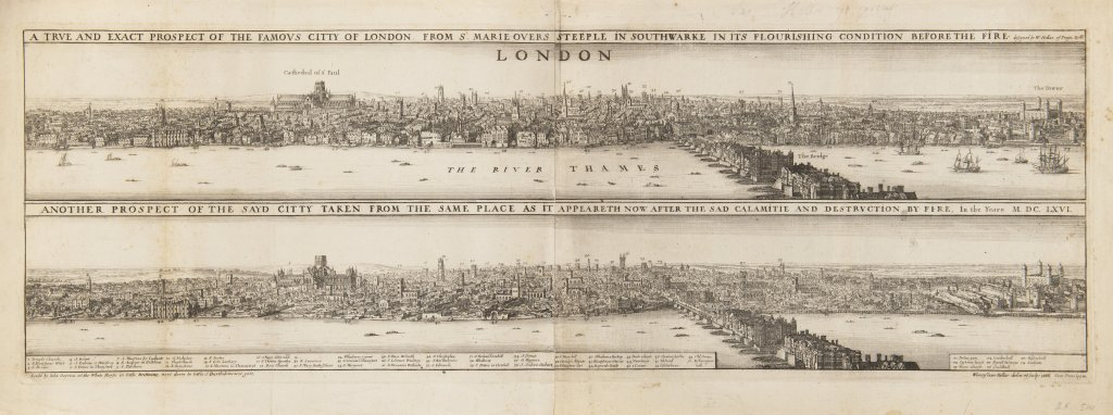 Lot 14 - VÁCLAV HOLLAR 1607 - 1677: TWO VISTAS OF LONDON – BEFORE AND AFTER THE FIRE 1666 Etching 27 x 72