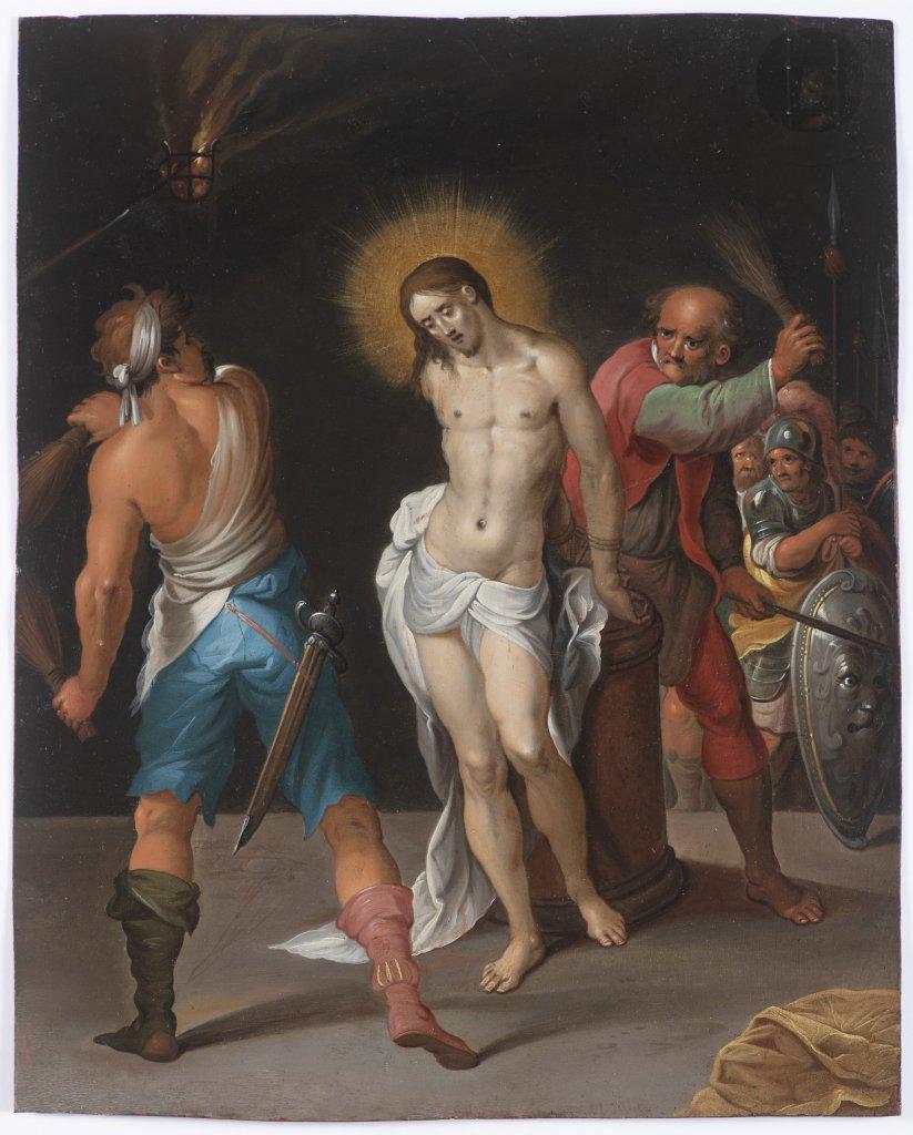 Lot 29 - AMBROSIUS FRANCKEN I. 1544 - 1618: THE FLOGGING OF CHRIST Ca. 1600 Oil on copper 28,5 x 23 cm