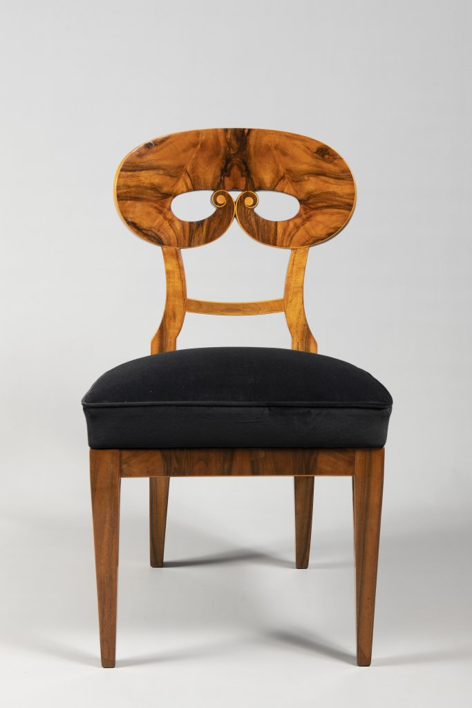 Lot 55 - A SUITE OF THREE BIEDERMEIER CHAIRS 1820 - 1830 Central Europe Walnut and maple 91 x 50 x 47 cm This