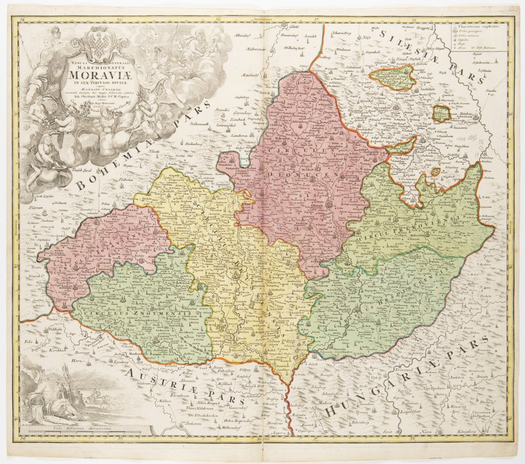 Lot 19 - JAN KRYŠTOF MÜLLER 1673 - 1721: A GROUP OF TWO MAPS Ca. 1720 Two separate maps, colored copper