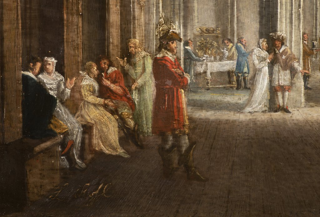 Lot 45 - LUDVÍK KOHL 1746 - 1821: A GOTHIC HALL WITH FIGURES 1810 - 1820 Oil on wood panel 49 x 71 cm