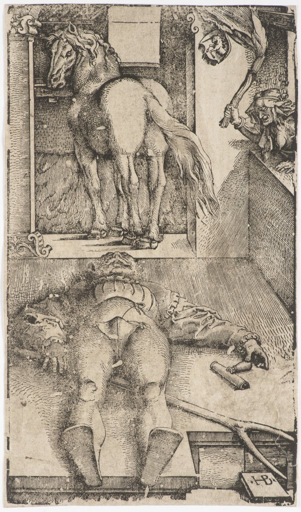 Lot 11 - HANS BALDUNG GRIEN 1484 - 1545: SLEEPING GROOM AND SORCERESS 1544 Woodcut 34 x 20 cm Marked on lower
