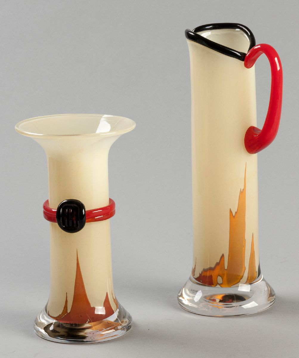 Lot 56 - A KOSTA BODA ART GLASS JUG AND VASE, BY MONICA BACKSTROM, signed and numbered 44761 (vase), 89730 (