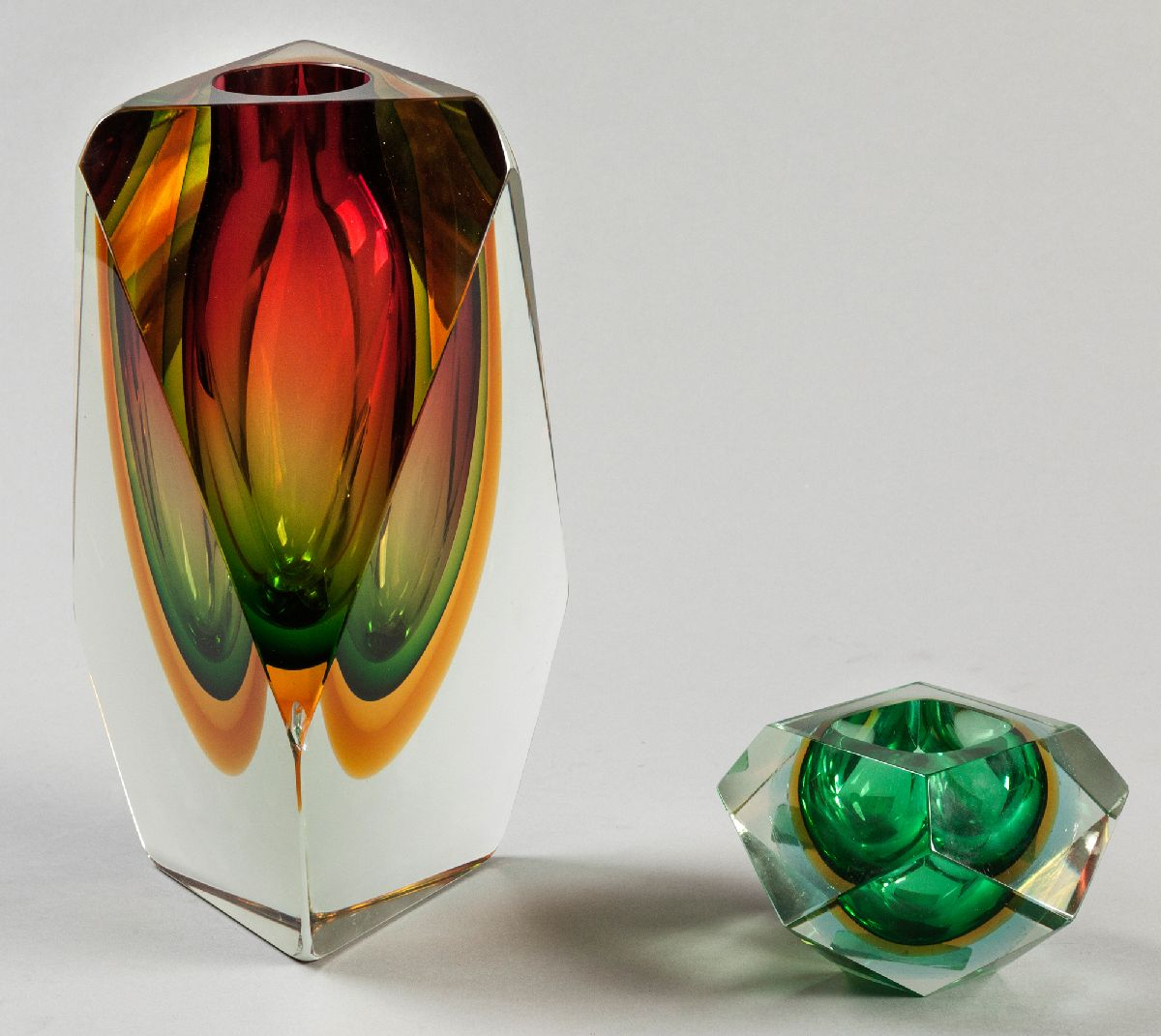Lot 55 - A MURANO GLASS SOMMERSO VASE, the organic-form vase in amber, green, yellow and pink colours, 27.5cm