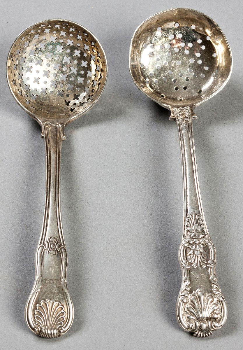 Lot 20 - A GEORGE II SILVER SIFTING SPOON, LONDON 1737, MAKER'S MARKS INDECIPHERABLE, Old English pattern,