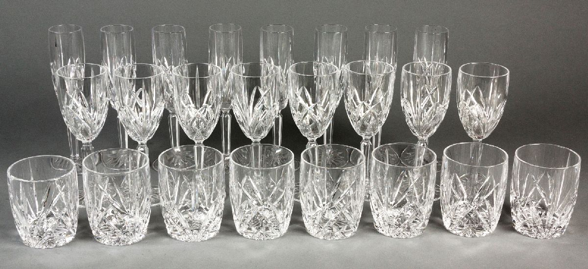 """Lot 58 - A SUITE OF WATERFORD """"MARQUIS"""" PATTERN DRINKING GLASSES, comprising: of 9 champagne flutes, 8"""