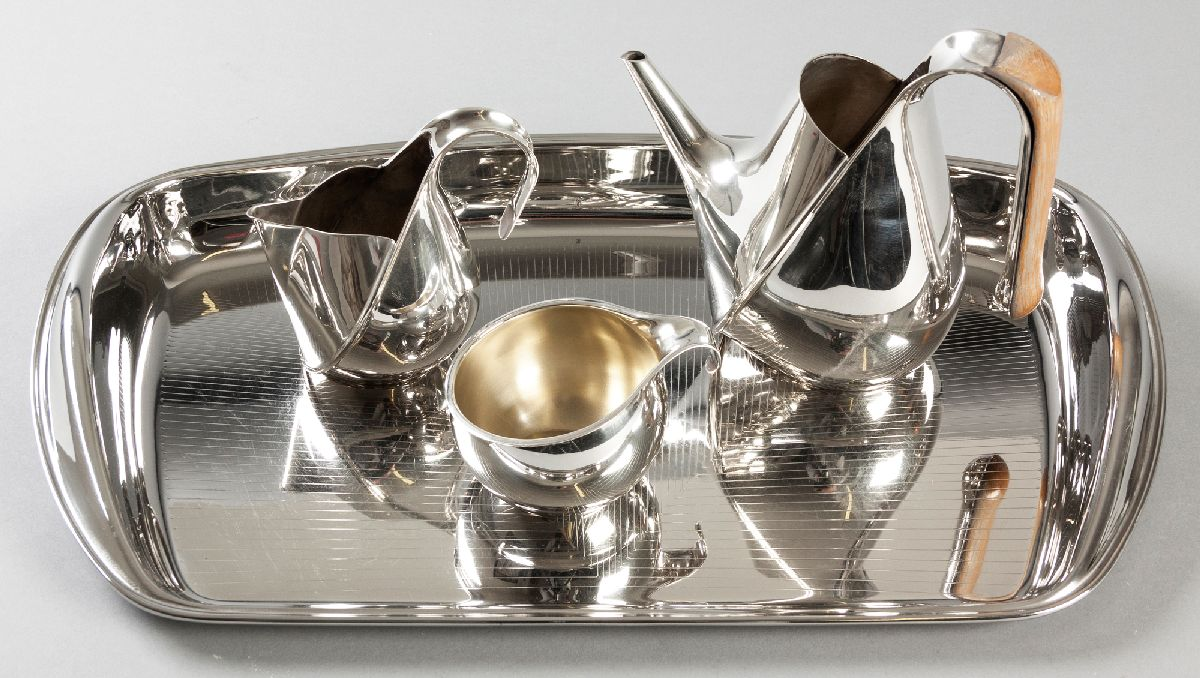 Lot 33 - A THREE PIECE SILVERPLATE TEA SET AND TRAY, BY OSCAR TUSQUETS FOR OFFICINA ALESSI, 1984, comprising: