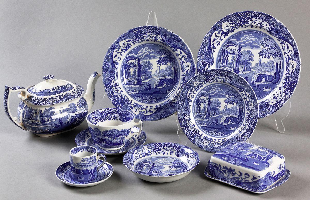 "Lot 60 - A PART COPELAND ""ITALIAN SPODE"" DINNER SERVICE, comprising: of 10 dinner plates, 4 salad plates, 9"