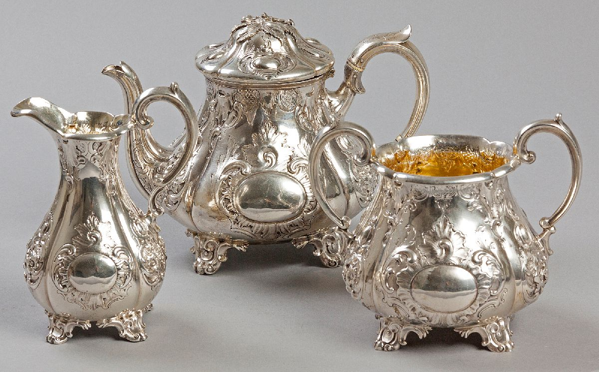 Lot 23 - A VICTORIAN THREE PIECE TEA SET, LONDON 1845, CHARLES REILY & GEORGE STORER, comprising: of a