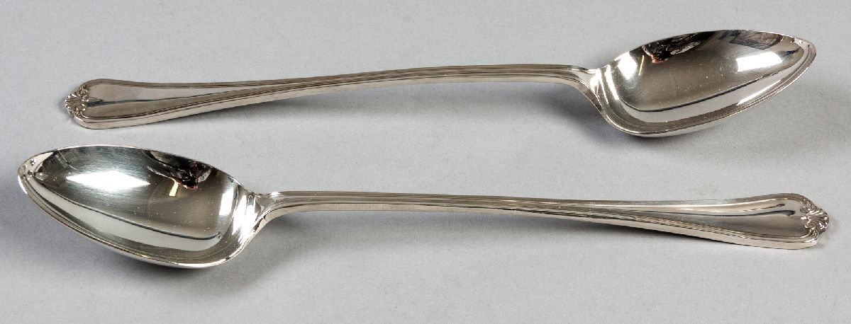 Lot 45 - A PAIR OF SILVERPLATE SHELL PATTERN BASTING SPOONS, 33cm (length), (2).