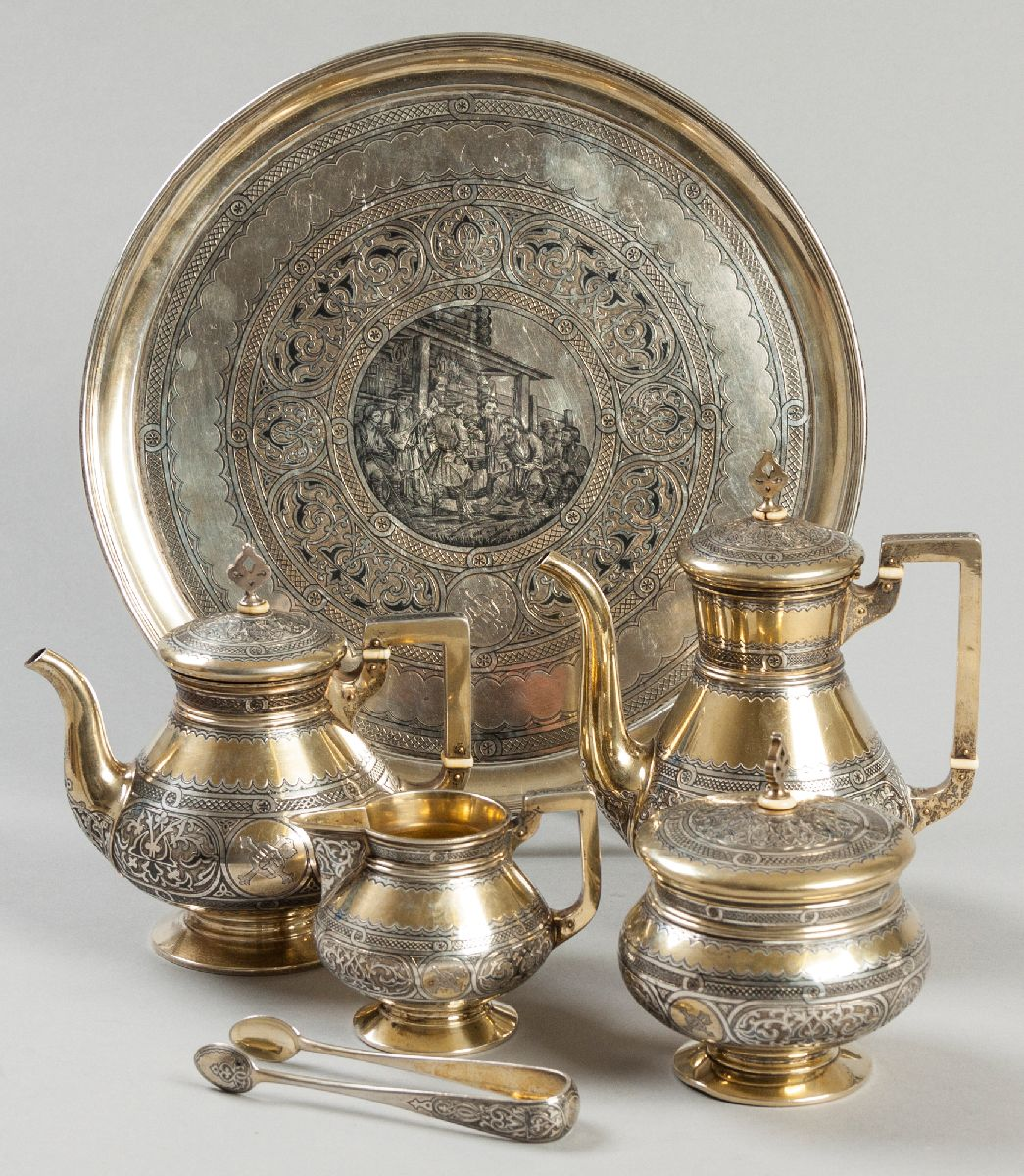 Lot 31 - A 19TH CENTURY FOUR PIECE RUSSIAN SILVER AND GILT TEA AND COFFEE SERVICE, STAMPED .84, 1870, A.C.,