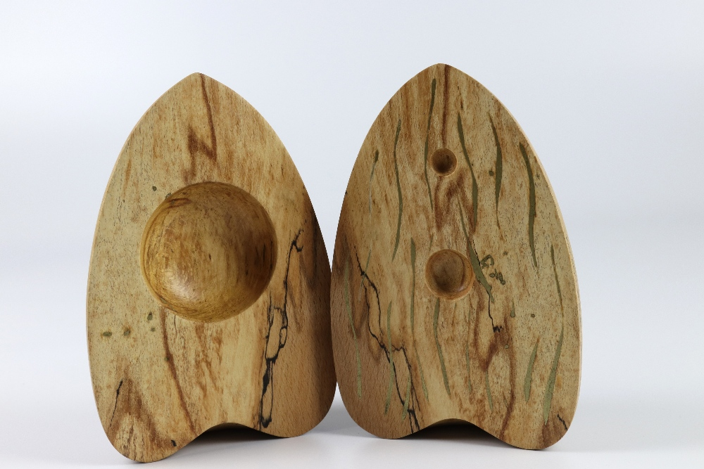 Lot 80 - Mick O'Donnell (UK) spalted beech split form 13x20cm. Signed
