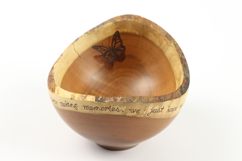 Lot 73 - Matt Overton & Barb Serratore (Joe Seltzer) yew natural edge bowl with quote from Winnie the