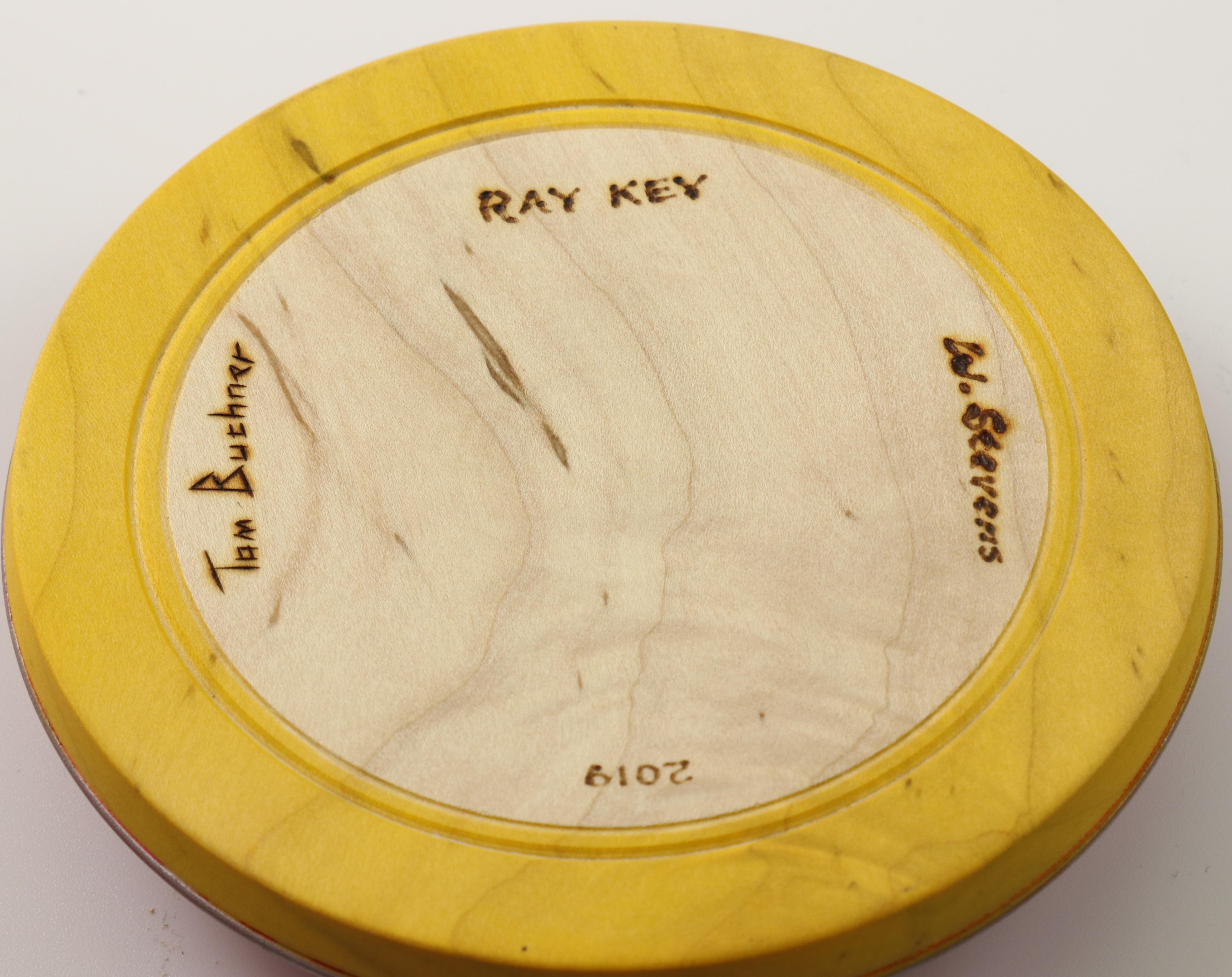 Lot 113 - Tom Buchner & Ward Stevens (USA) brown oak bowl on carved and coloured pedestal 8x11cm. Signed