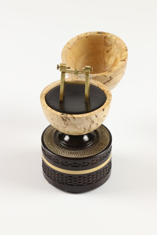 Lot 95 - Reg Hawthorne (UK) masur birch, africam blackwood and brass egg box 16x7cm. Signed