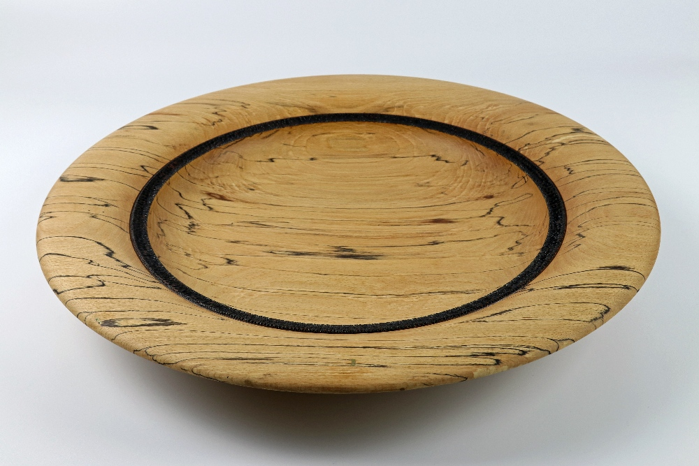 Lot 79 - Mick Hanbury (UK) spalted beech platter 7x49cm. Signed