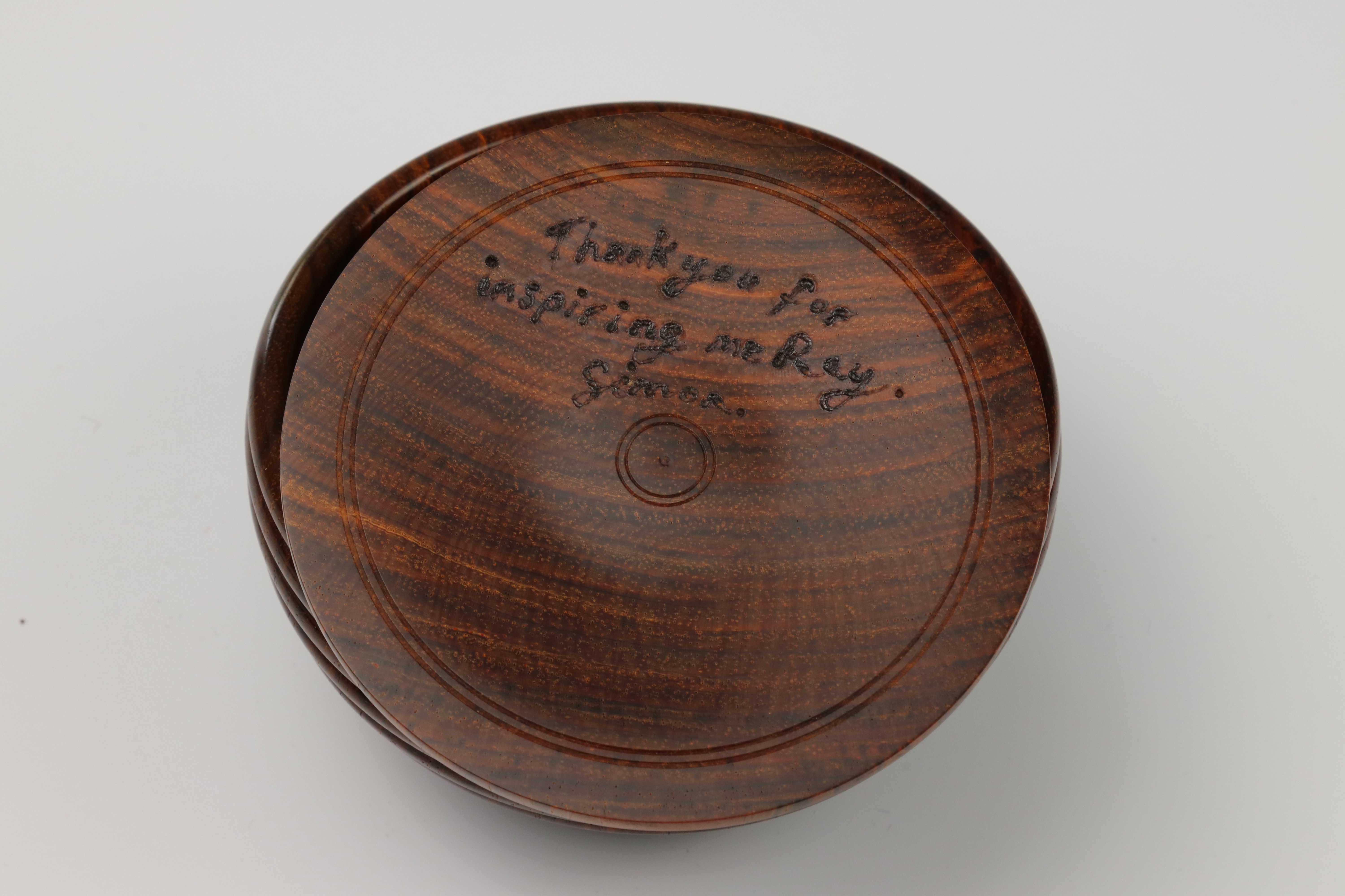 "Lot 106 - Simon Hope (UK) rosewood & pewter box with message under the lid - ""Thank you for inspiring me"