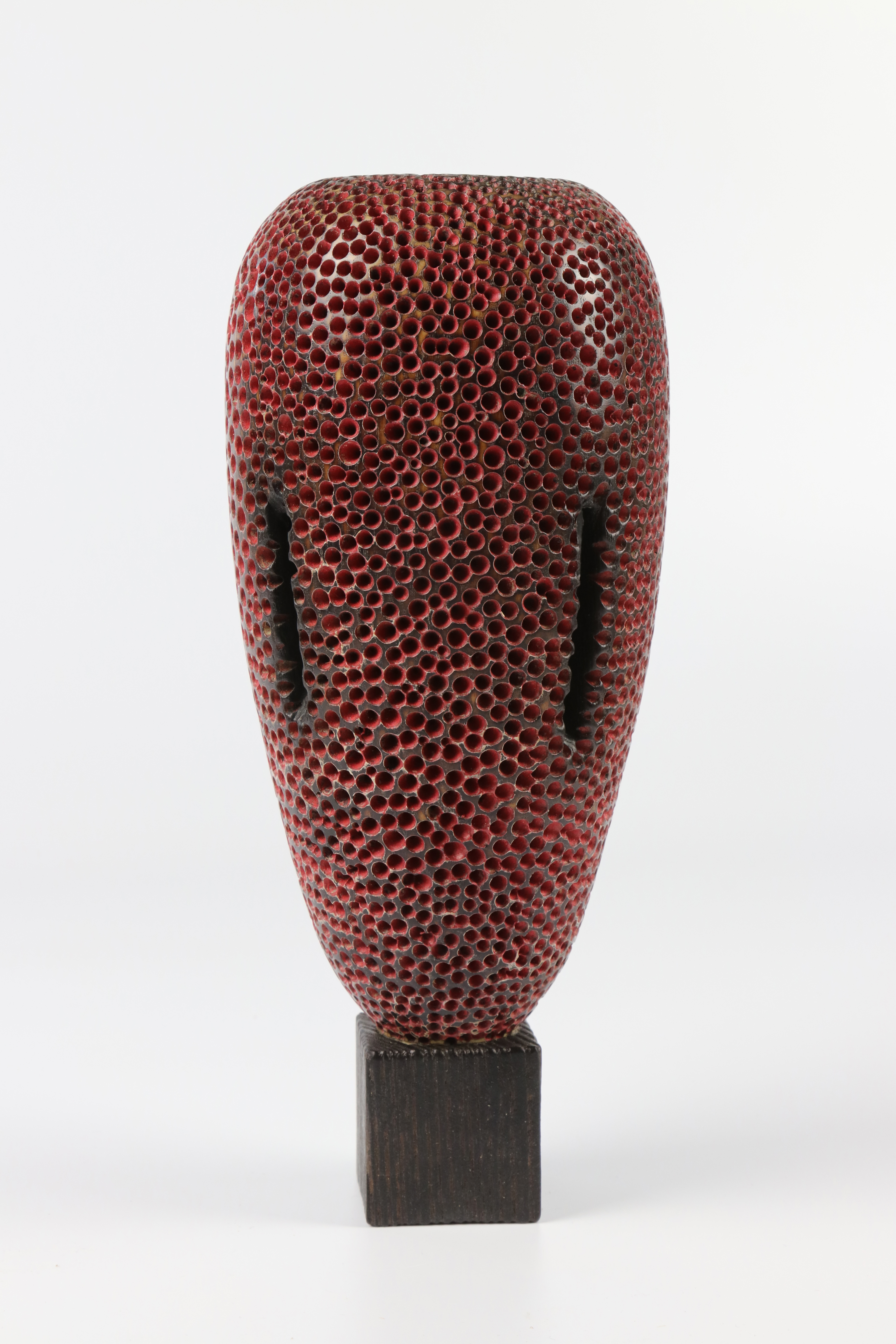 Lot 84 - Mike Scott (USA) textured and coloured ash hollow form 26x11cm. Signed