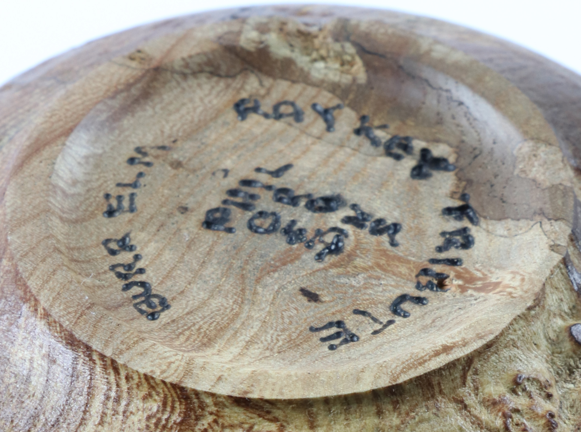 Lot 94 - Phil Irons (UK) textured burr elm hollow form 17x13cm. Signed