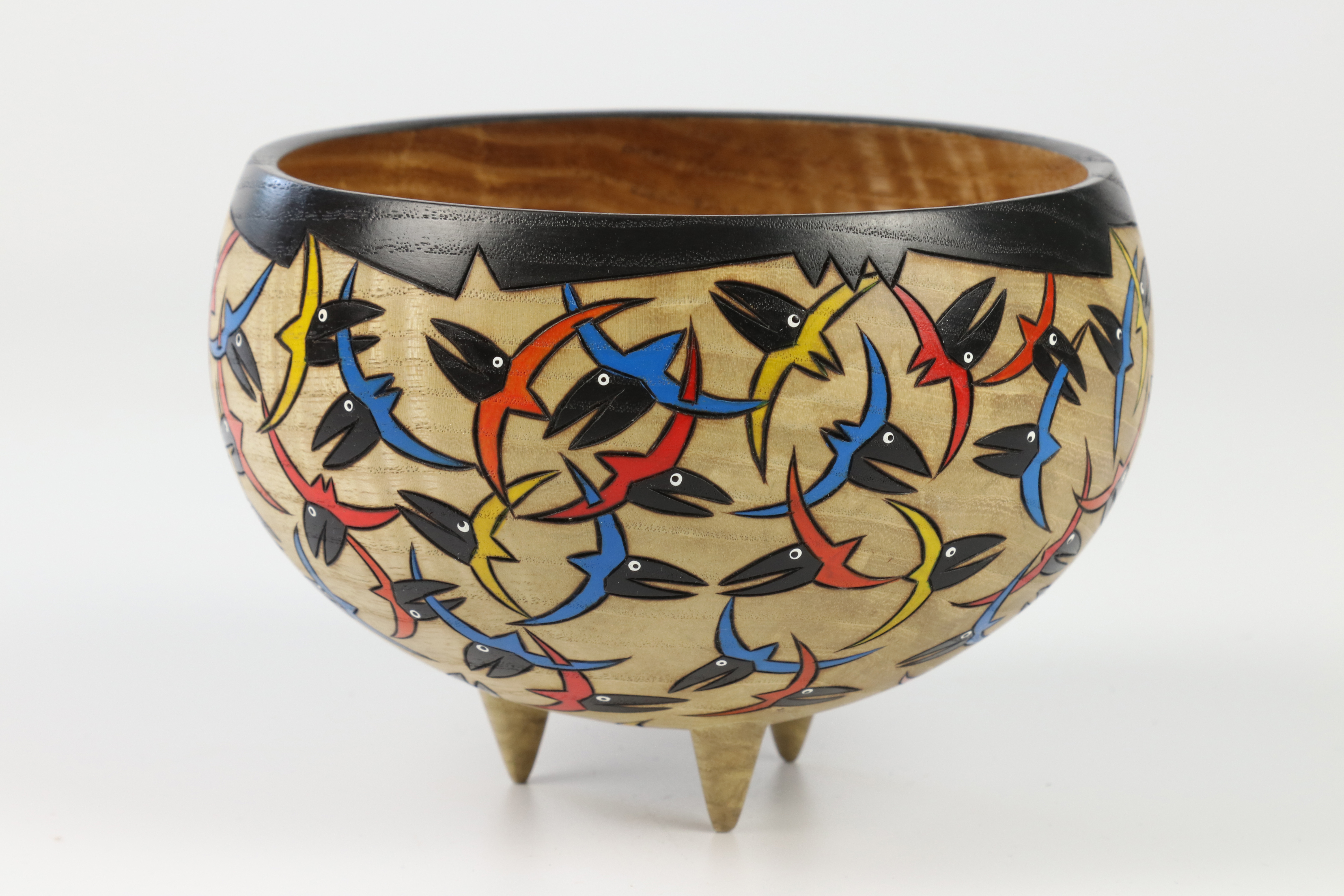 Lot 81 - Mike and Laura Hosaluk (Candada) rippled ash decorated bowl 10x14cm. Signed
