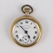 Damentaschenuhr - West End WatchSchweiz, GG 9K gem., Lepine-Gehäuse, Dca.2,8cm, weißes