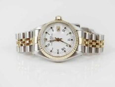 "Damenarmbanduhr - RolexSchweiz, gem. ""Rolex Oyster Perpetual Date"", rundes Gehäuse, Dca.2,4cm,"