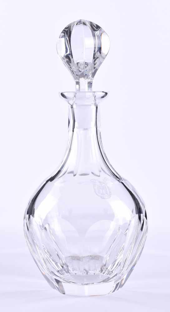 Lot 2 - Whiskey - carafe around 1900on the front side with polished medallion, heavy execution in crystal,