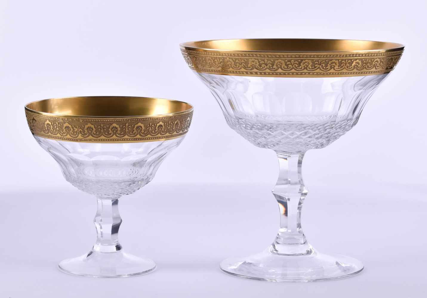 Lot 3 - Large convolute crystal glasses, Theresiental8 pieces, with gold edge, includes: 2 small vases, 11